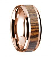 14k rose gold bocote wooden ring