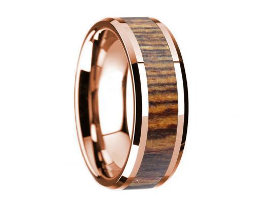 14k rose gold bocote wooden ring