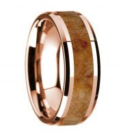 14k rose gold maple burl wooden ring