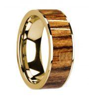14k yellow gold bocote wooden ring