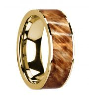 14k yellow gold buckeye burl wooden ring