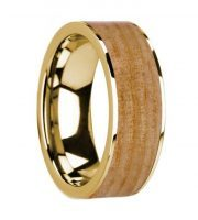 14k yellow gold white pine wooden ring