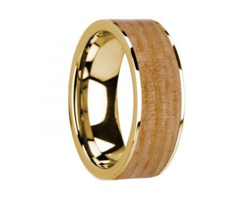 14k yellow gold white pine wooden ring