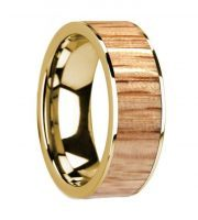 14k yellow gold red oak wooden ring