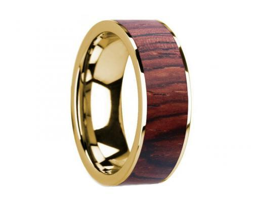 14k yellow gold rosewood wooden ring