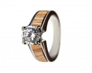 red oak wood wedding ring