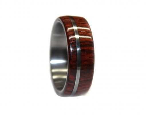 Tungsten and rosewood wooden ring