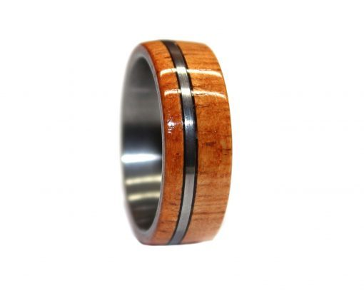 Tungsten and mahogany wooden ring