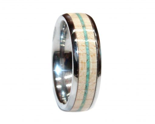 tungsten with maple and turquoise wooden ring