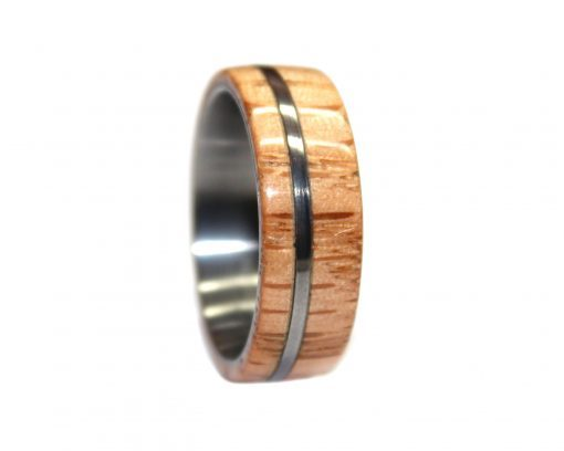 Tungsten and red oak wooden ring
