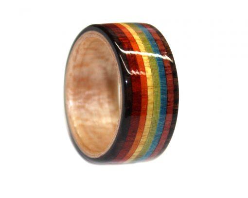 Pride LGBTQ rainbow wooden ring